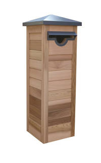 Genova Western Red Cedar Pillar Letter Box